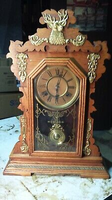 Antique Waterbury Mantel Clock With Brass Decorated Stag Model Very Rare