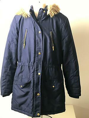 Girls George Navy Warm Hooded Warm Coat Jacket Kids Age 13-14 Years
