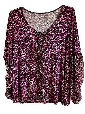 Lane Bryant Womens Print Tunic Top Blouse Peasant Bell Sleeve Sz 18/20 Flowy