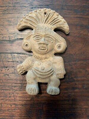 Ancient Mayan Pre-Columbian Pottery Figure, 5 X 3 1/4 X 1