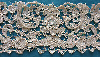 Antique 19th century single Venetian style needle lace  cuff