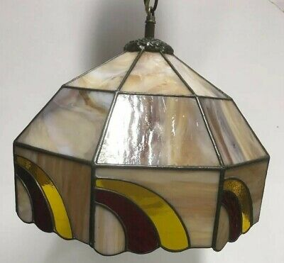 VTG. Arts & Crafts Stained Glass Slag Glass Hanging / Table Lamp Light Shade
