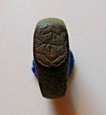 Medieval  Æ bronze ring with Merchant's mark circa 1200-1400 AD.