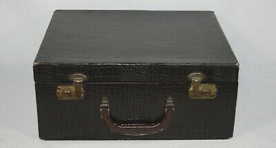 Vintage Faux Alligator Brown Small Suitcase Travel Luggage Storage Prop