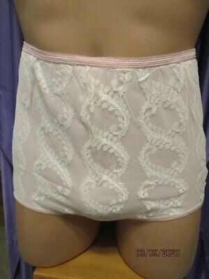 1960's Pink Vintage Nylon Tricot Brief Panties Georgous White Lace Overlay 32/34