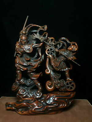 Collectable Ancient Handmade Unique Boxwood Carving Monkey King Lucky Statue
