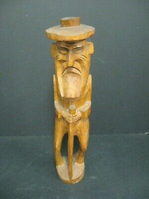 VINTAGE Hand Carved Wood Hobo Man Traveler Statue Figure Walking With Cane 14""