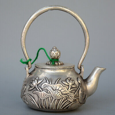 China Decor Precious Miao Silver Carving Blooming Lotus & Fish Exquisite Tea Pot