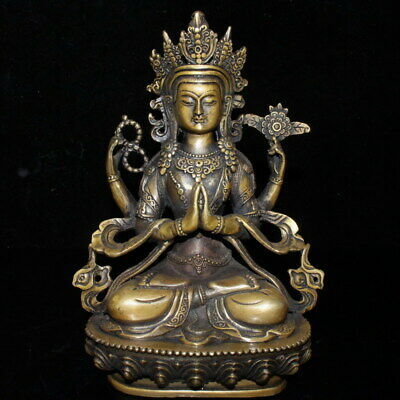 Handwork Collectable Precious Copper Carving Four Hand Buddha Exquisite Statue