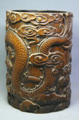 Collectable Decoration China Gorgeous Bamboo Carving Dragon Exquisite Brush Pot