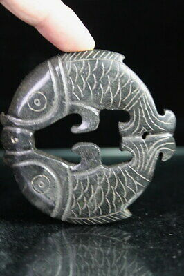 China Decor Precious Old Jade Carved Double Fish Bring Fortune Exquisite Pendant