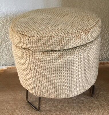 Vintage Mid Century Atomic Mini FOOT STOOL Iron Hairpin Legs Tuffet Ottoman