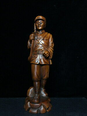 Decoration Exquisite Boxwood Carving Soldier Auspicious Noble Atmosphere Statue