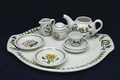 Porcelain Tea Set Miniatures Portmeirion 10-Pc Botanic Garden Britain
