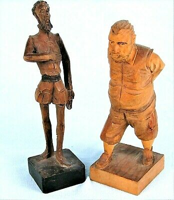Don Quixote & Sancho Panza Vintage Ouro Hand Carved Wood Figurines Spain