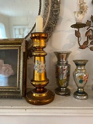 1800's  Large Mercury Glass Candle Holder GOLD Painted Cream Enamel Flowers 13""