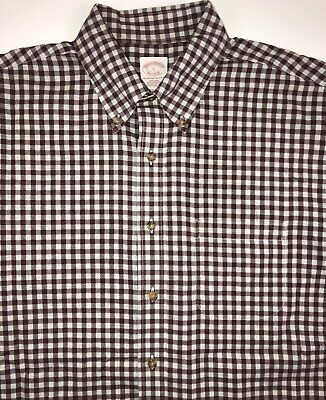 Brooks Brothers Dress Shirt Men's Large Long Sleeve Red Grey Check