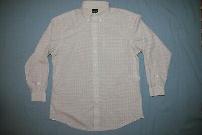Jos. A. Bank Classic Collection Tailored Fit White/ Checks Men's Shirt 17 1/2