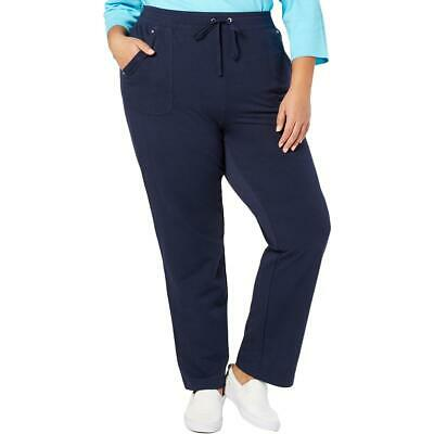Karen Scott Sport Womens Navy French Terry Pants Athletic Plus 2X BHFO 1316