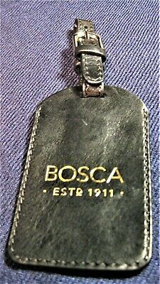 New Authentic BOSCA  Leather Tag for Bag Luggage Suitcase Black