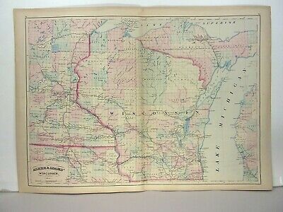 1872 ASHER & ADAMS ATLAS MAP of WISCONSIN WITH 6 GAZETTEER PAGES
