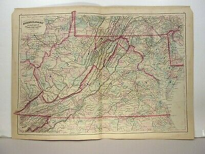 1872 ASHER & ADAMS ATLAS MAP of VIRGINIA & WEST VIRGINIA WITH 12 GAZETTEER PAGES