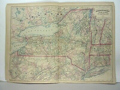 1872 ASHER & ADAMS ATLAS MAP of NEW YORK WITH 14 GAZETTEER PAGES
