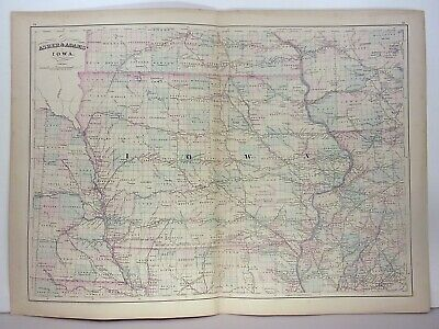 1872 ASHER & ADAMS ATLAS MAP of IOWA WITH 7 GAZETTEER PAGES