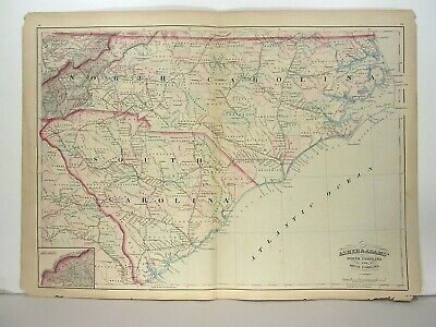 1872 ASHER & ADAMS ATLAS MAP of NORTH & SOUTH CAROLINA WITH 12 GAZETTEER PAGES