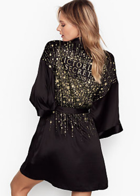 New Victoria's Secret Black Nyc 2018 Fashion Show Robe Kimono Size Xs/S No Belt