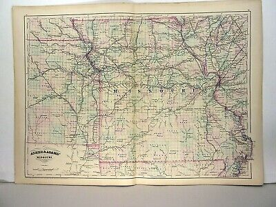 1872 ASHER & ADAMS ATLAS MAP of MISSOURI WITH 8 GAZETTEER PAGES