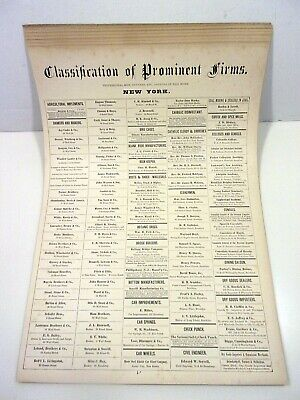 "1872 ASHER & ADAMS ""CLASSIFICATION of PROMINENT FIRMS.  14 PAGES of INFORMATION"