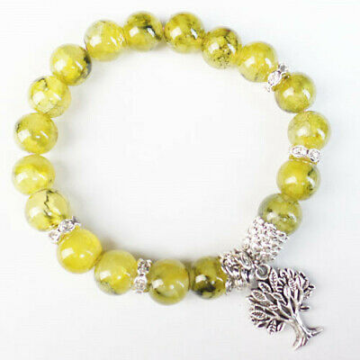 10mm Yellow Dragon Veins Agate Ball Tree Of Life Stretchy Bracelet 7.5 Inch