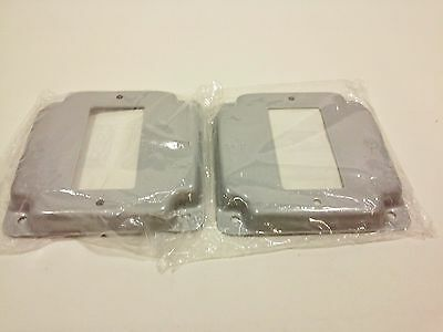 """Raised Covers, 1 GFCI/GFI Receptacle - For 4"""" Square Electrical Boxes (Lot of 2)"""