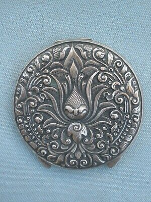 Vintage Powder With Mirror Compact - Pewter ? - Beautifully - Engraved