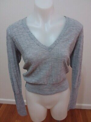 Country road women jumper V Neck Grey Wool Rib Size Small Jumper