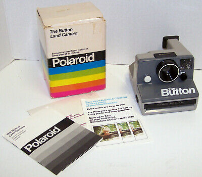 Polaroid The Button Instant Land Camera SX-70 tested working In Original Box