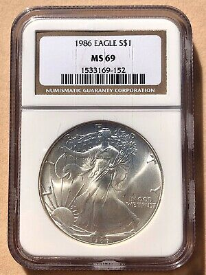 1986 American Silver Eagle $1 MS 69 NGC First Year Brown Label NICE