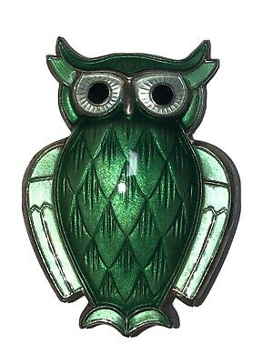 Vintage David Andersen Norway Sterling Silver 925S Green Enamel Owl Brooch Pin