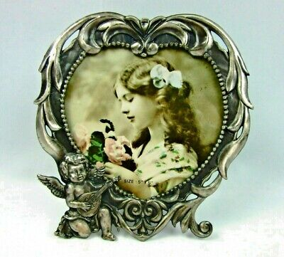 Vintage Pewter Heart Shaped Photo/Picture Frame Cherub Easel 5x5
