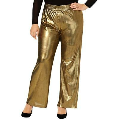 NY Collection Womens Gold Metallic Striped Wide Leg Pants Plus 1X BHFO 9797