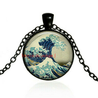 Great Wave at Kanagawa art Glass dome Necklace chain Pendant Wholesale black