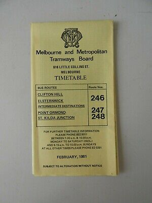 Victorian Railways VR Melbourne Metro Tramways Board Clifton Hill Timetable.