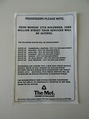 Victorian Railways VR VicRail The Met Passengers Please Note. Good Condition.