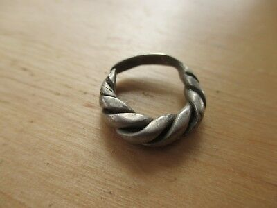 Beautiful medieval twisted silver ring Kievan Rus 12-13 AD