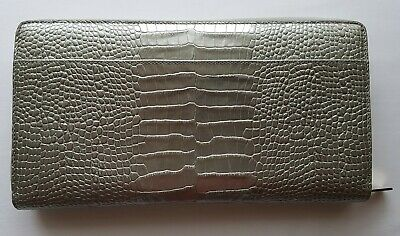 SMYTHSON MARA 'ZIP TRAVEL WALLET' with PASSPORT COVER in SILVER - RRP £450 - BN
