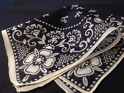 #4880🌟Antique 1800s Victorian Floral BLACK-WH Mourning Opera Print Handkerchief
