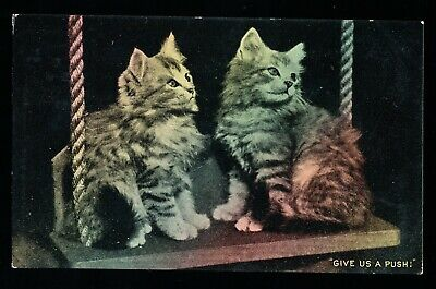 Used Postcard – Two Kittens – Give Us Push (944)