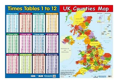 Times Table + UK Counties Map -2 posters - Educational -  A2 size - Chart media