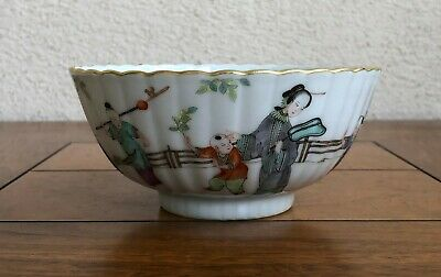 Rare Antique Chinese Porcelain Famille Rose & Scalloped Bowl. 18/19Th C.